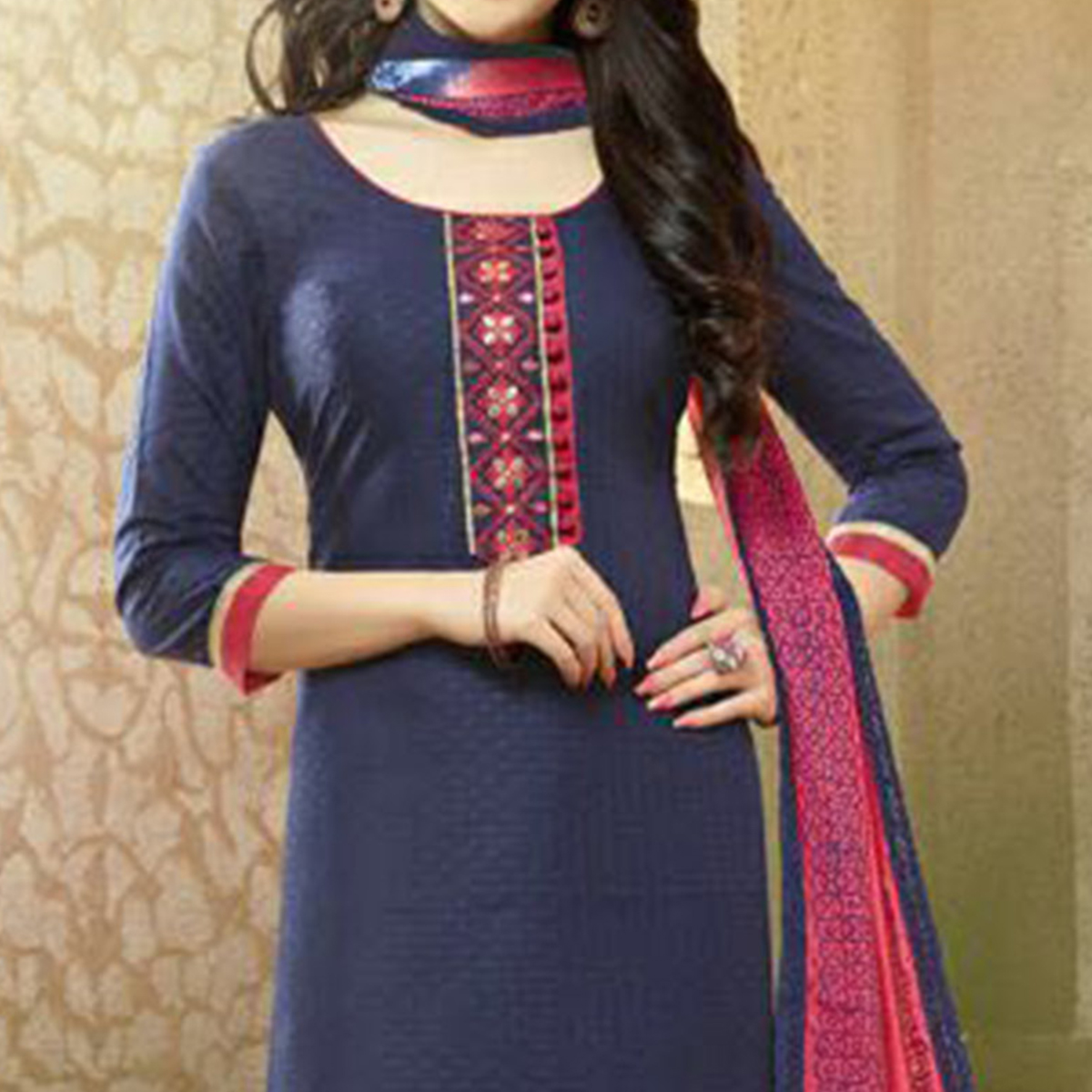 Navy Blue - Pink Cotton Casual Wear Suit