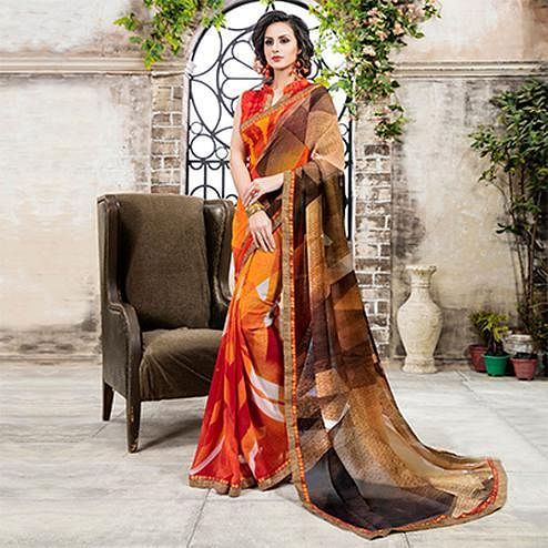 Orange Casual Georgette Printed Saree
