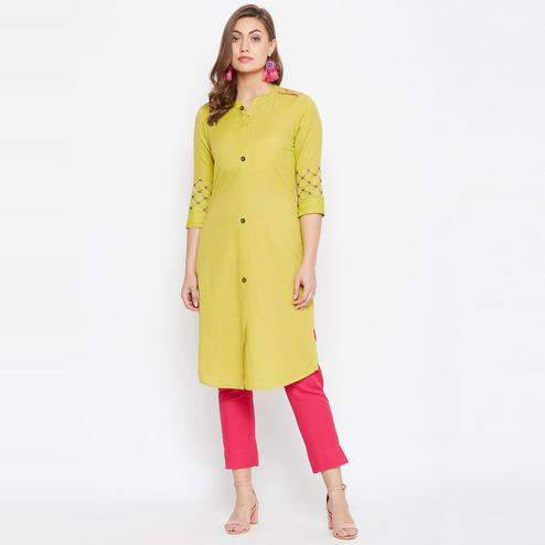 Winered - Amazing Light Yellow Colored Casual Wear Embroidered Cotton Kurti
