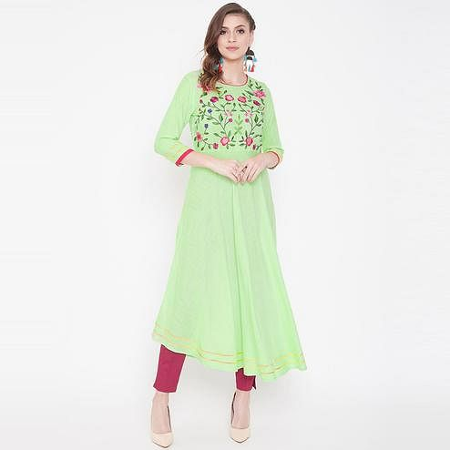 Winered - Gorgeous Mint Green Colored Party Wear Embroidered Rayon Kurti