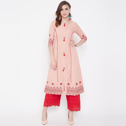 Winered - Blissful Peach Colored Casual Wear Embroidered Cotton Kurti