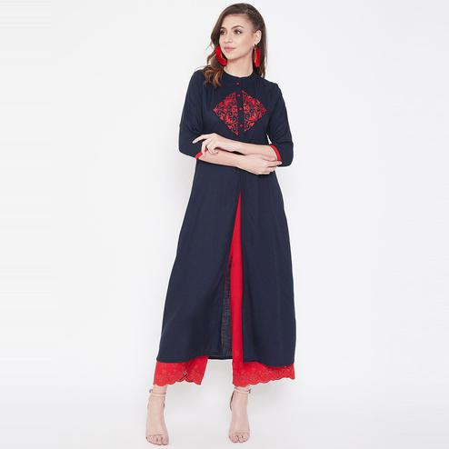 Winered - Ideal Navy blue Colored Casual Wear Embroidered Rayon Kurti