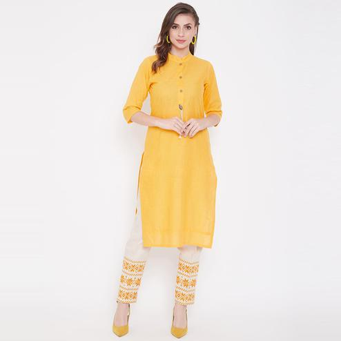 Winered - Lovely Yellow Colored Casual Wear Embroidered Cotton Kurti-Pant Set
