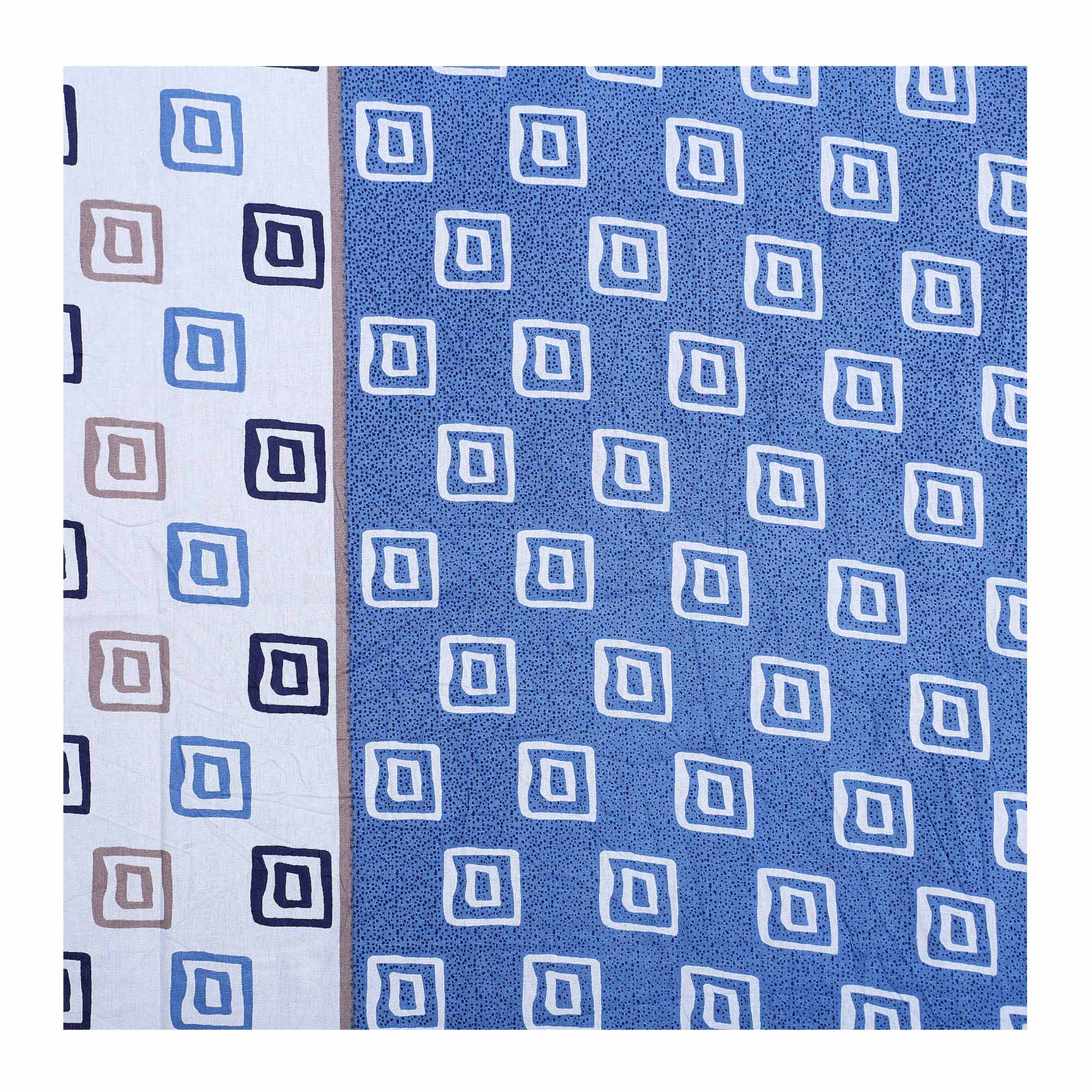 Glorious Blue Colored Printed Cotton Double BedSheet With Pillow Cover