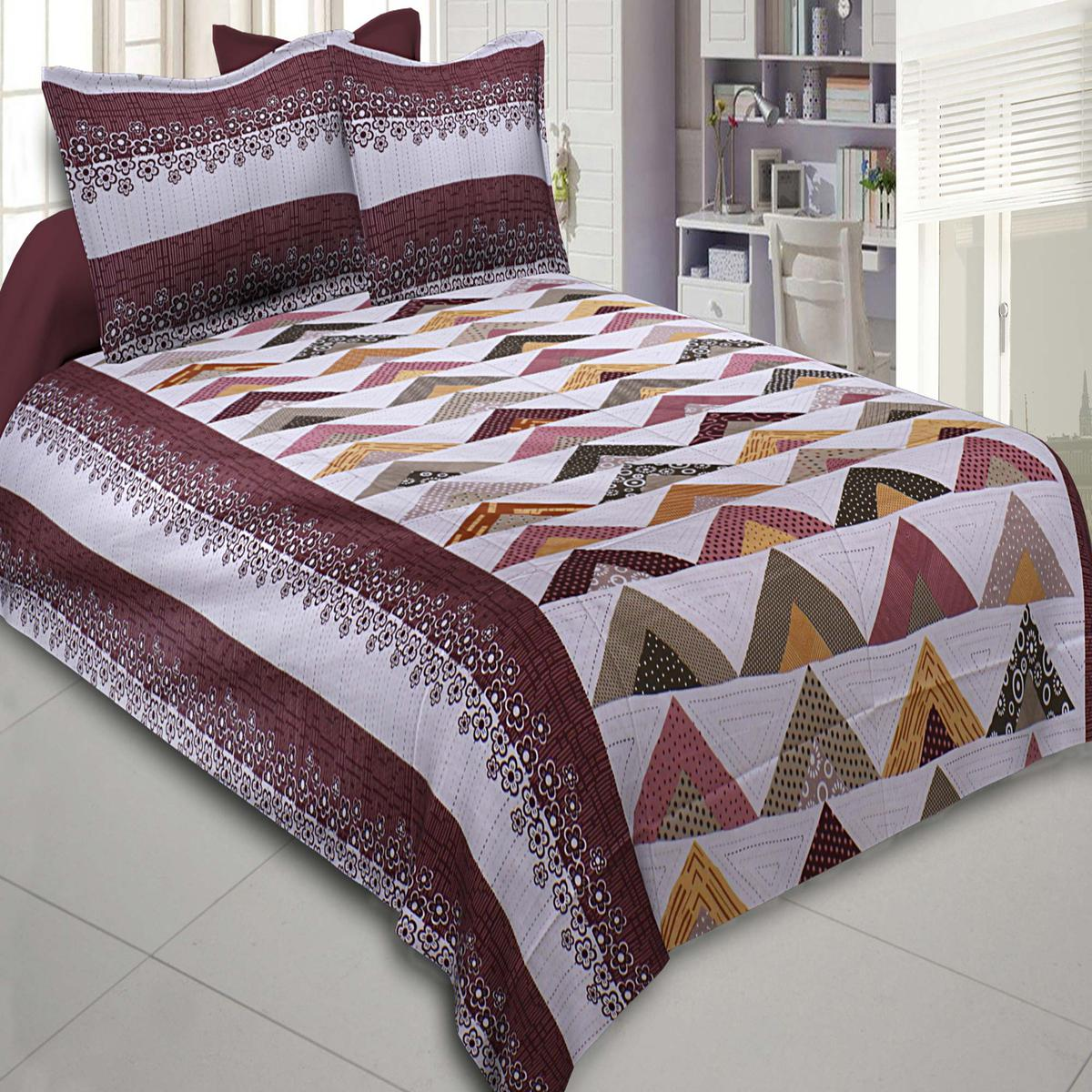 Beautiful Maroon-Multi Colored Printed Cotton Double BedSheet With Pillow Cover