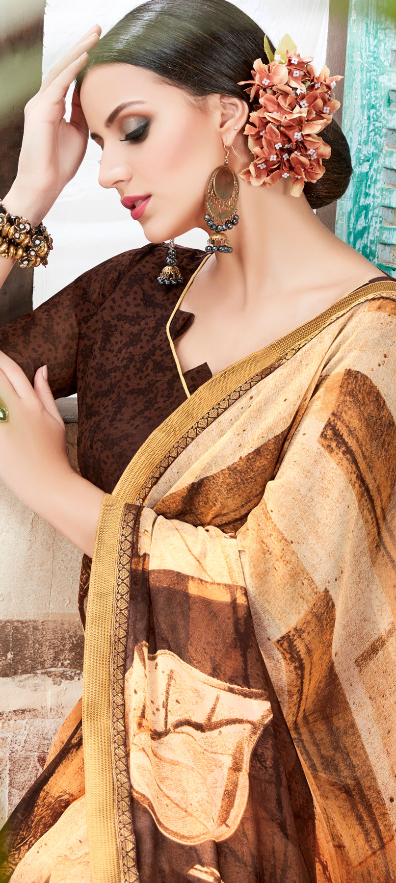 Cream - Brown Casual Wear Georgette Saree