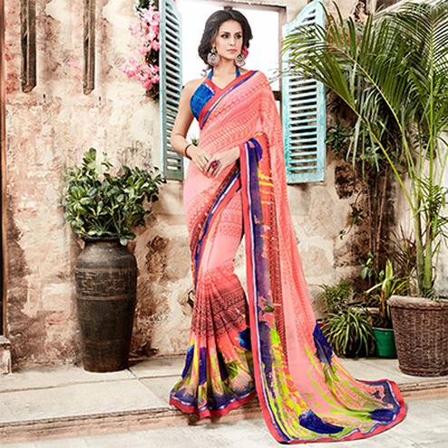 Peach Geometrical Digital Printed Saree