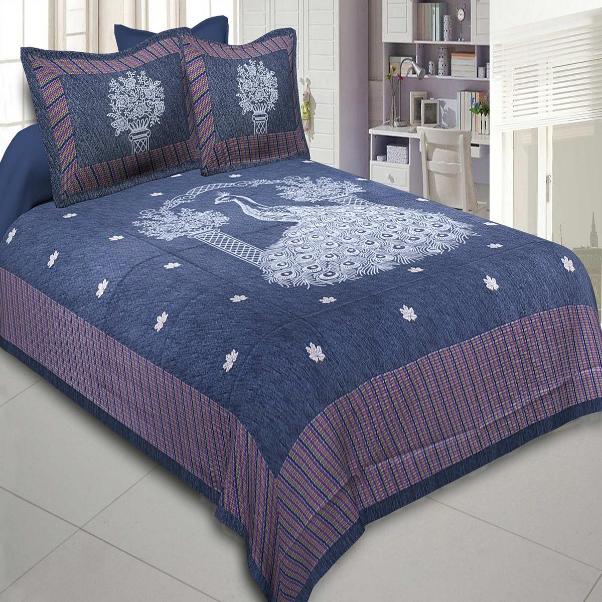 Ethnic Blue Colored Peacock Printed Cotton Double BedSheet With Pillow Cover