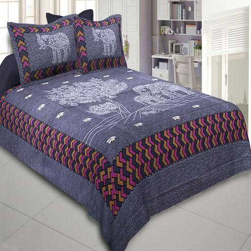 Staring Blue Colored Elephant Printed Cotton Double BedSheet With Pillow Cover