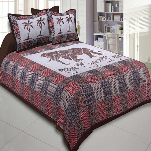 Surpassing Brown Colored Ajrak Print Big Elephant Printed Cotton Double BedSheet With Pillow Cover