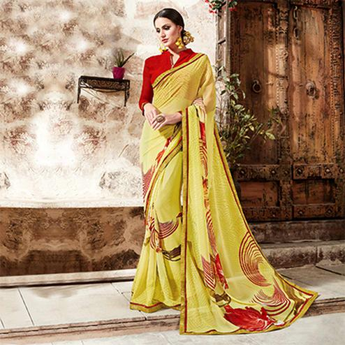 Yellow Floral Digital Printed Saree