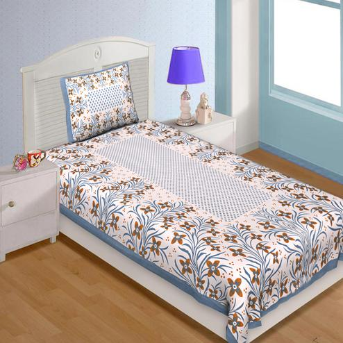 Pleasant Cream Colored Flower Print Leaf Pattern Cotton Single Bedsheet With Pillow Cover