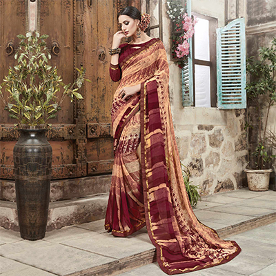 Cream - Maroon Digital Printed Saree