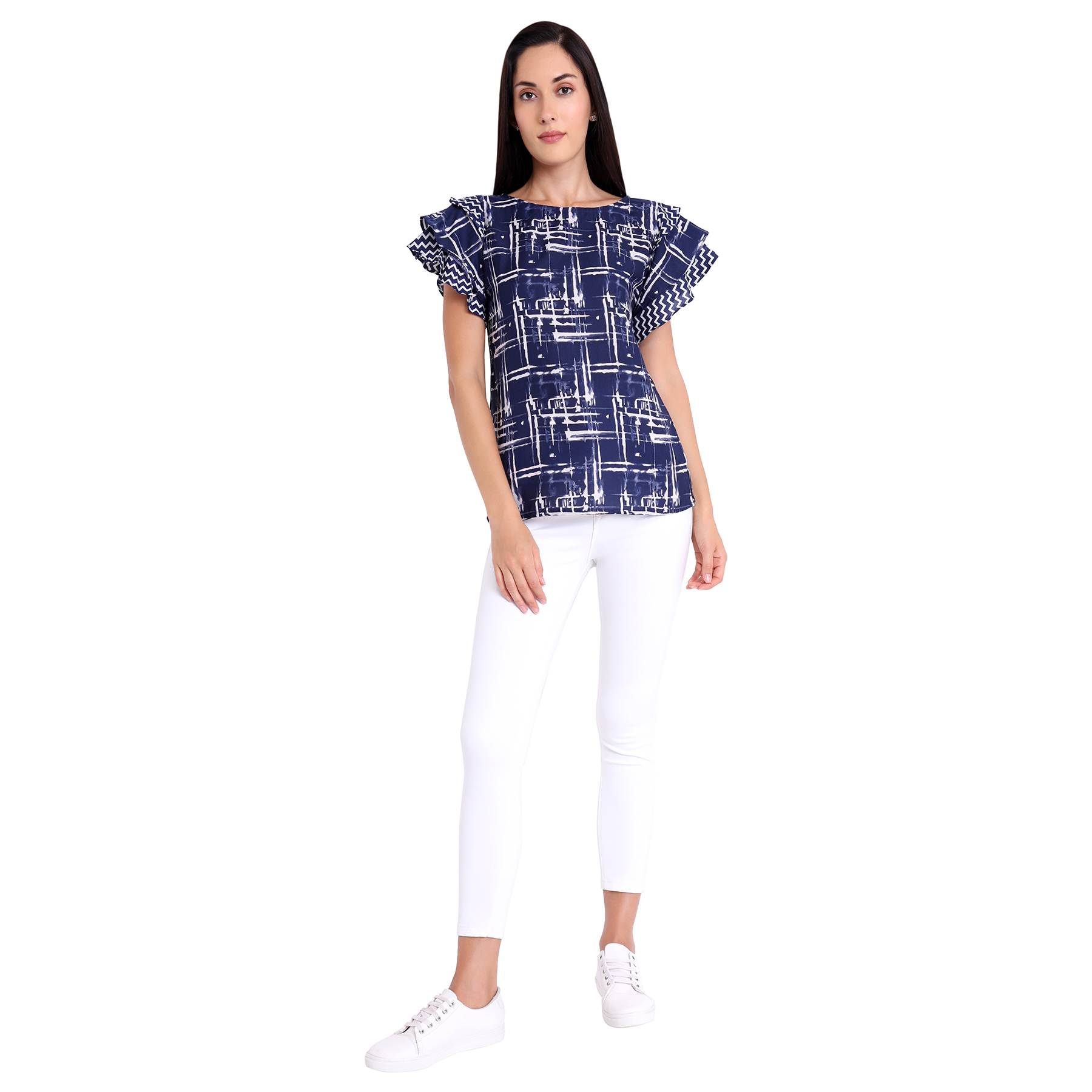 Pleasant Navy Blue Colored Casual Wear Printed Crepe Western Top