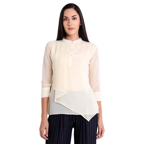 Opulent Cream Colored Casual Wear Georgette Western Top
