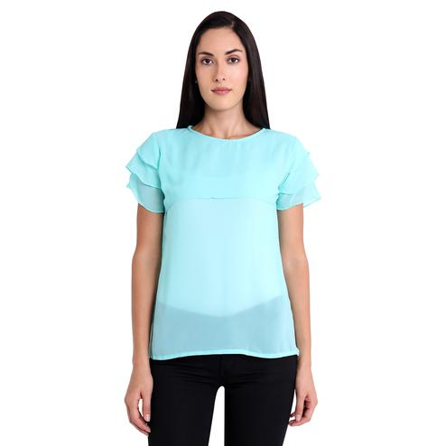 Energetic Sky Blue Colored Casual Wear Georgette Western Top