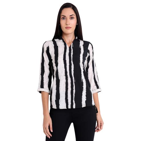 Exceptional Black-Off White Colored Casual Wear Printed Georgette Western Top
