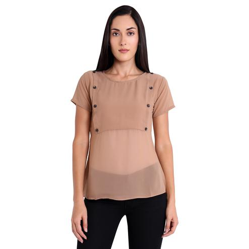Mesmeric Ligth Brown Colored Casual Wear Georgette Western Top