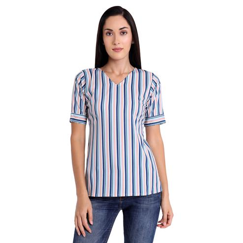 Unique Blue-White Colored Casual Wear Stripe Printed Crepe Western Top