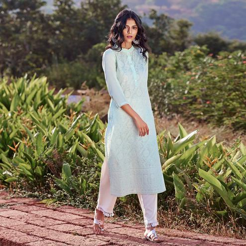 Trendy Light Blue Colored Casual Wear Embroidered Straight Chanderi Silk Kurti-Pant Set