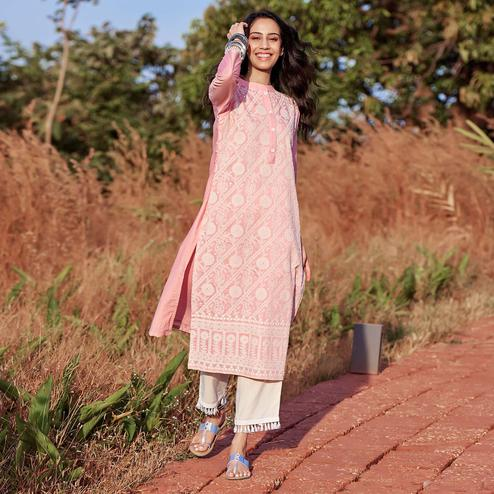 Pleasant Light Pink Colored Casual War Embroidered Straight Chanderi Silk Kurti-Pant Set
