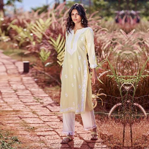 Energetic Yellow Colored Casual Wear Embroidered Straight Cotton Silk Kurti-Pant Set