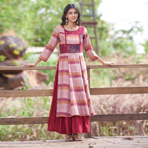 Glowing Maroon-Pink Colored Casual Wear Printed Double Layered Cotton Kurti With Jacket