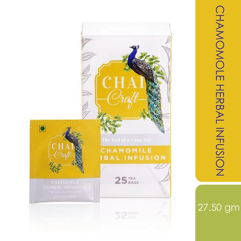 Chai Craft - Chamomile Herbal Infusion Tea for excellent Sleep, 25 Enveloped Staple Free Tea Bags