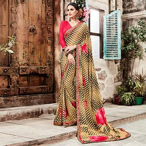 Beige - Brown Casual Georgette Printed Saree