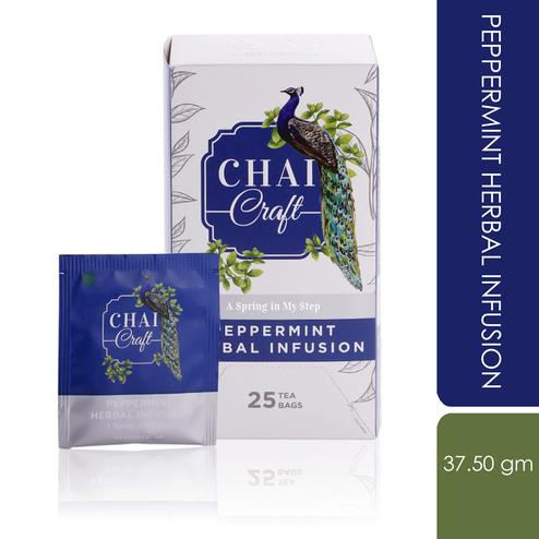 Chai Craft - Peppermint Herbal Infusion Tea to refresh & rejuvinate, 25 Enveloped Staple Free Tea Bags