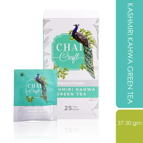 Chai Craft - Kashmiri Kahwa Green Tea with traditional & royal taste, 25 Enveloped Staple Free Tea Bags