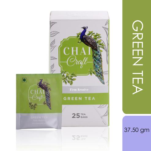Chai Craft - Green Tea, Antioxidant Rich, 25 Enveloped Staple Free Tea Bags