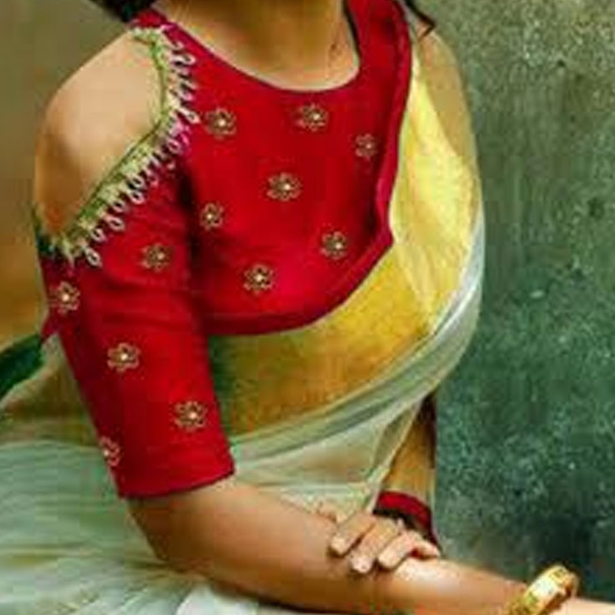 White - Red Saree with Embroidered Blouse