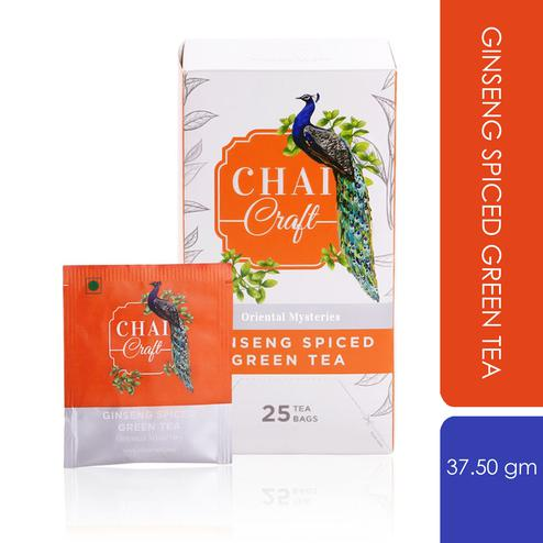 Chai Craft - Ginseng Spiced Green Tea for Boosting Immunity Naturally, 25 Enveloped Staple Free Tea Bags