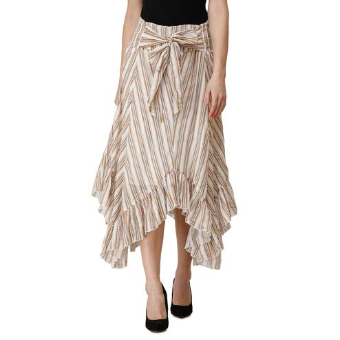 Adirav - Beige Colored Casual Wear Striped Printed Smocked Waistband Cotton Flared Skirt