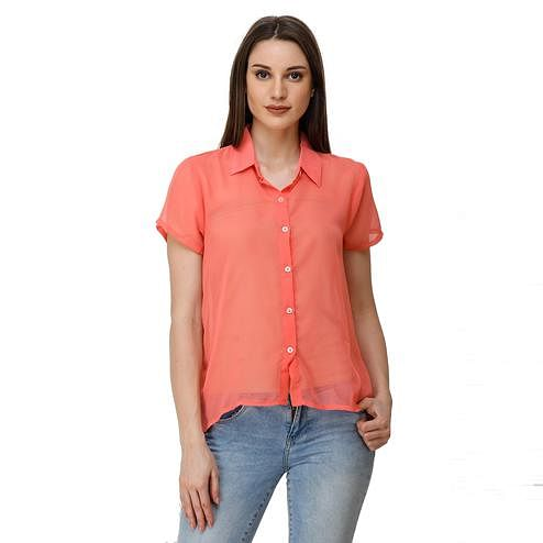 Adirav - Coral Pink Colored Casual Wear Georgette Shirt