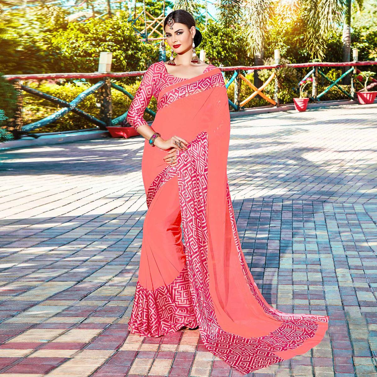 Peach Casual Wear Pure Soft Silk Saree