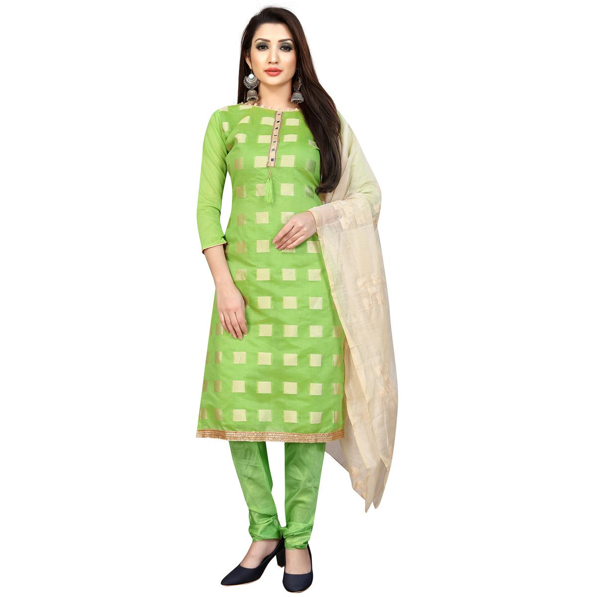 Hypnotic Pista Green Colored Casual Wear Embrodiered Polyester-Cotton Dress Material