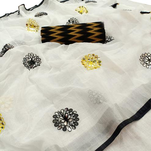 Arresting White-Black Colored Party Wear Embroidered Linen Cotton Saree