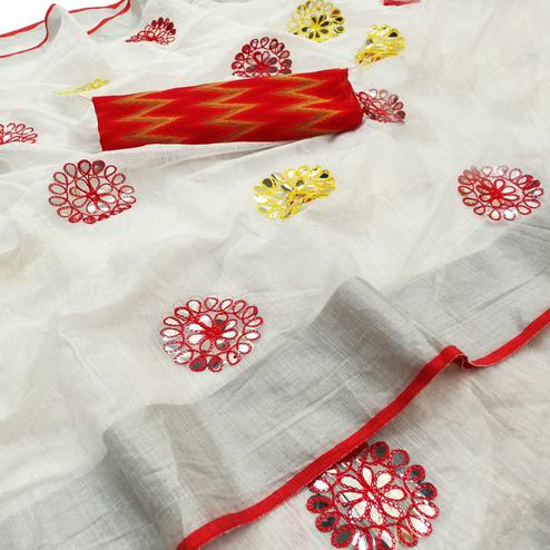 Exotic White-Red Colored Party Wear Embroidered Linen Cotton Saree