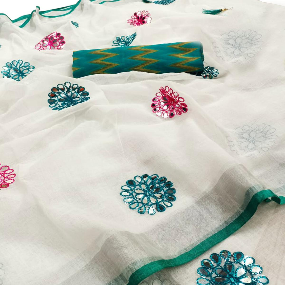 Trendy White-Green Colored Party Wear Embroidered Linen Cotton Saree