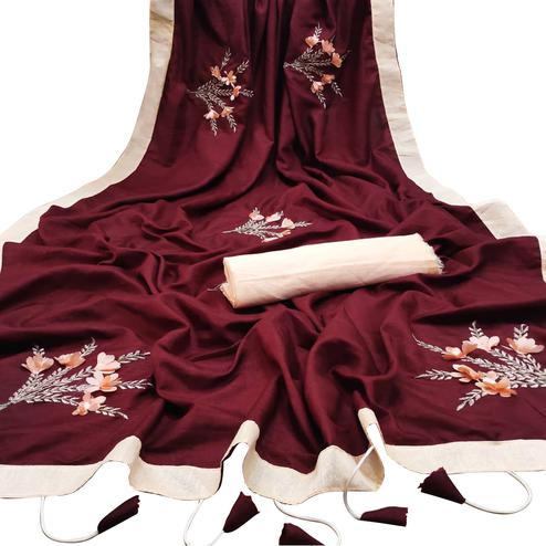 Radiant Maroon Colored Party Wear Embrodiered Art Silk Saree