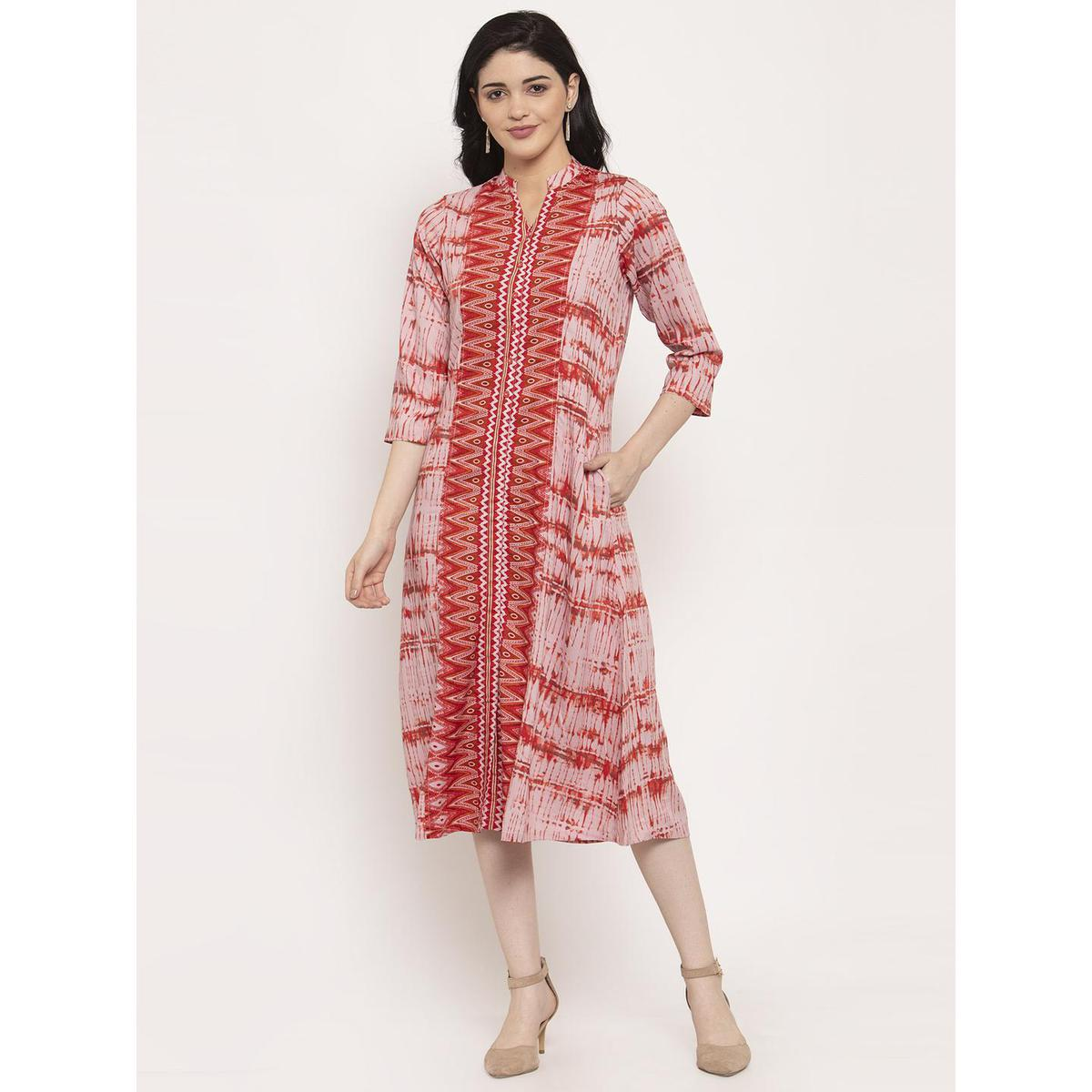Ayaany - Pink-Red Colored Casual Wear Printed Cotton Dress