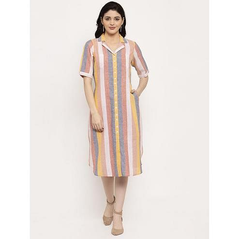 Ayaany - Multi Colored Casual Wear Striped Printed Cotton Dress