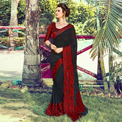 Black Digital Printed Saree