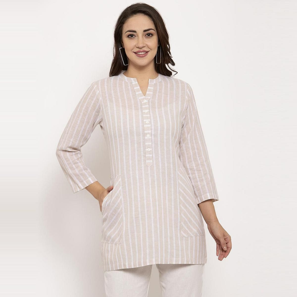 Ayaany - Beige Colored Casual Wear Striped Printed Pure Cotton Top