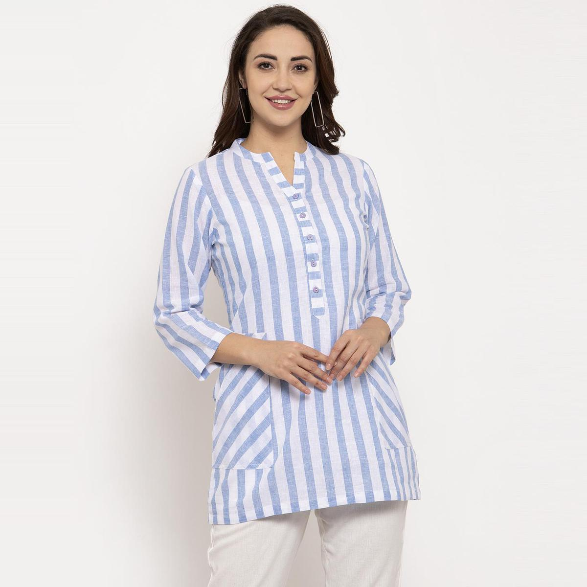Ayaany - Blue Colored Casual Wear Striped Printed Pure Cotton Top
