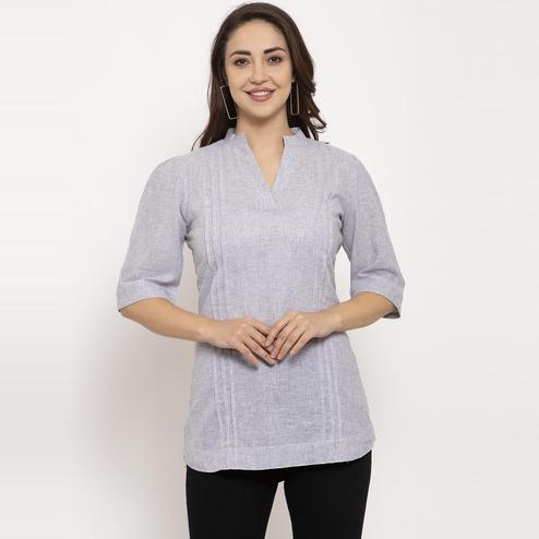 Ayaany - Grey Colored Casual Wear Pure Cotton Top