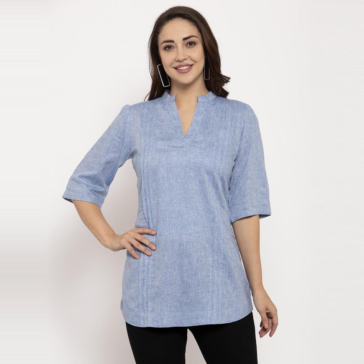 Ayaany - Blue Colored Casual Wear Pure Cotton Top