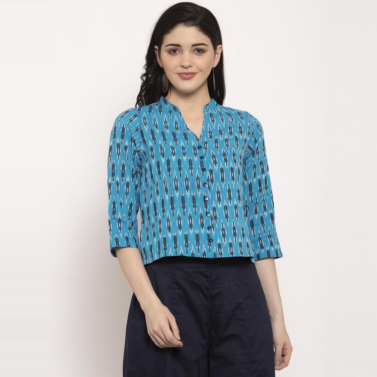 Ayaany - Blue Colored Casual Wear Printed Pure Cotton Top